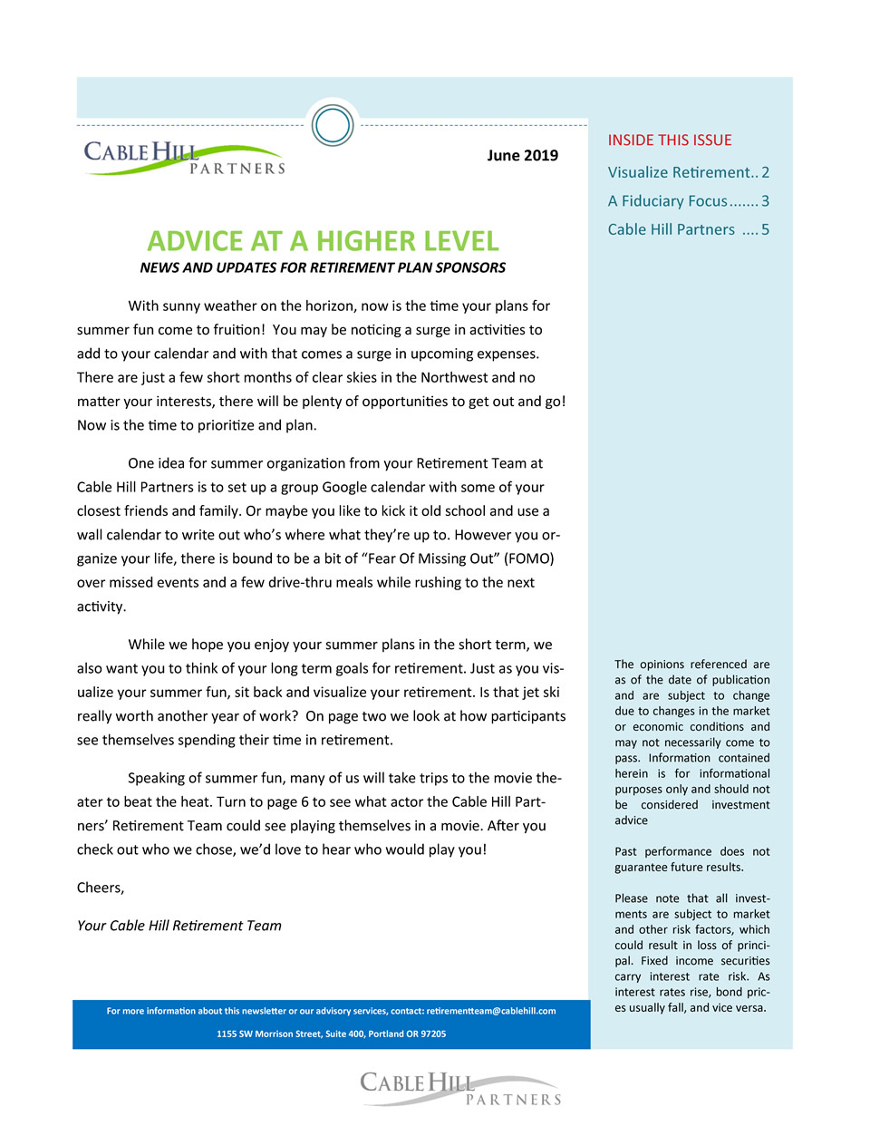 2019Q2 Retirement Times Newsletter from Cable Hill Partners